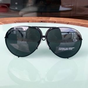 NWT Porsche P8478 D 66mm Dark Ruthenium Sunglasses